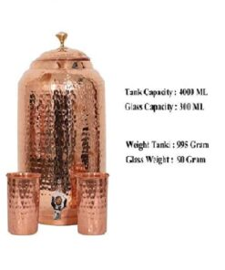 Handmade House Hammered Pure Copper Water Dispenser Pot 4 Liter Water Pot Matka Ayurveda Healing Water Storage Tank with 2 Serving Glasses (4 Liter)