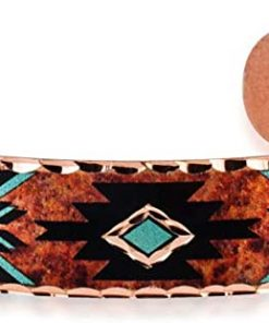 Handmade Copper Cuff Bracelet Southwest Turquoise Color in Native American Arrow Design Jewelry for Unisex