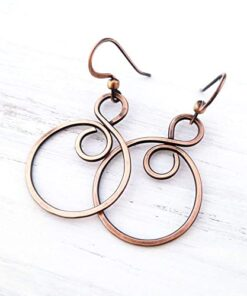 Handmade Solid Copper Infinity Hoop Wire Wrapped Earrings