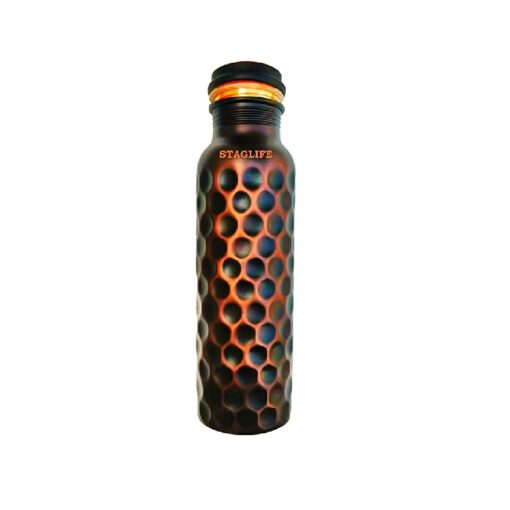 Staglife Copper Water Bottle Pitcher - Ayurveda Health Benefits to Increase Immunity - Pure Drinking Water - Leak Proof - Stylish Diamond Cut Design - (Large / 1 Litre / 34 ounce)