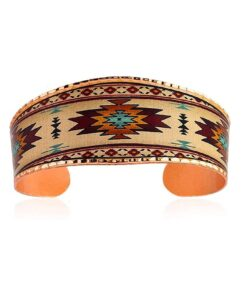 Handmade Copper Cuff Bracelet for Unisex, Southwest Sunburst Design- Native American Bracelets for Men & Women Wide Cuff Adjustable