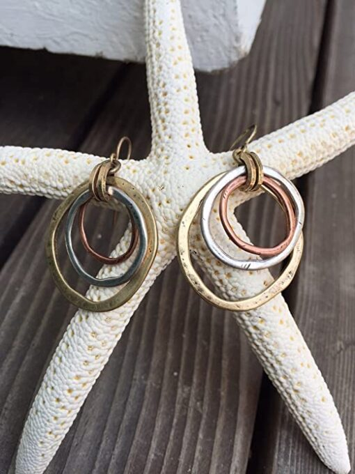 Handmade Sunrise Tricolor Dangle Earrings-Burnished Circles, Copper Brass and Silverplated