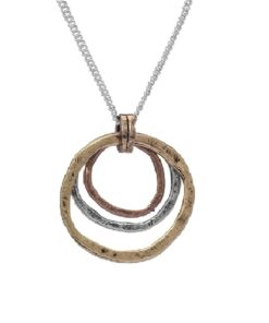 Of Earth and Ocean HANDMADE Sunrise Pendant Necklace, Triple Circles in Tri-Tone Copper, Brass, and Silver