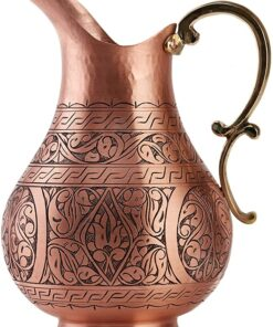 DEMMEX The Pitcher, 1mm Solid Copper Handmade Engraved Copper Pitcher Vessel Ayurveda Jug for Drinking Water, Moscow Mule, Cocktail (Matte-Engraved)