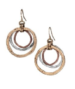 Handmade Sunrise Tricolor Dangle Earrings-Burnished Circles, Copper Brass and Silver plated