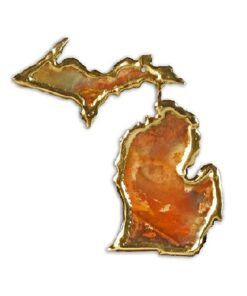 Full Michigan Copper Christmas Ornament & Michigan Gift | Handmade in Michigan | Copper Michigan Souvenir with Full Michigan Love Decor | Artisan Ornaments by Keweenaw Gem & Gift
